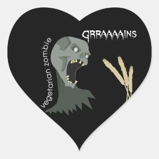 ¡El zombi vegetariano quiere Graaaains! Pegatina En Forma De Corazón