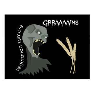¡El zombi vegetariano quiere Graaaains! Postal