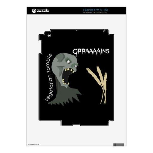 ¡El zombi vegetariano quiere Graaaains! Calcomanías Para El iPad 2