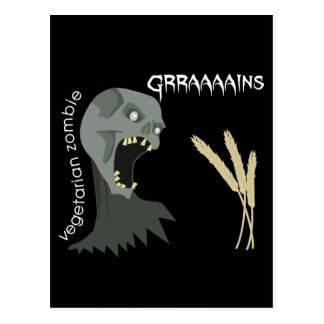 ¡El zombi vegetariano quiere Graaaains! Tarjeta Postal