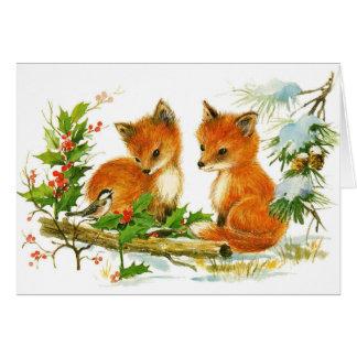 El zorro lindo del navidad del vintage pare la tarjeta de felicitación