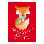 El zorro lindo envolvió para arriba rojo de la tarjetas