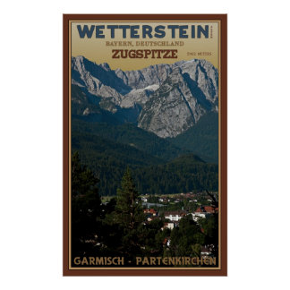 El Zugspitze sobre Garmisch-Partenkirchen Póster