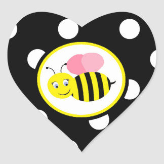 El zumbido manosea la abeja - rosa/negro pegatina corazón