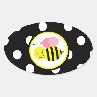 El zumbido manosea la abeja - rosa/negro calcomania de óval