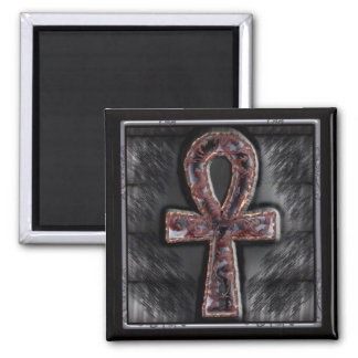 elaborate ankh 2 inch square magnet