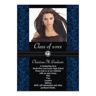 Elaborate Blue Black Damask Graduation Card