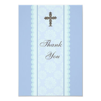 Elaborate Cross Flat Thank You Card Personalized Invitation