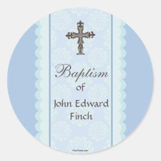 Elaborate Cross Religious Sticker/Return Address L Classic Round Sticker