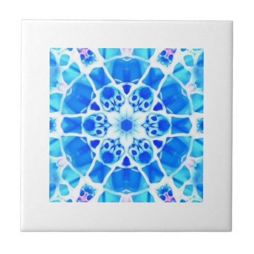 Elaborate light blue tile pattern