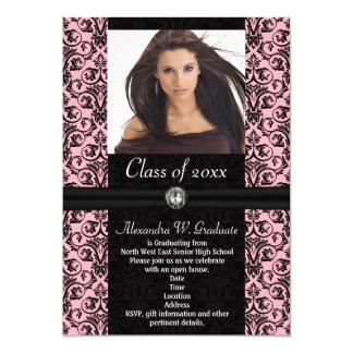 Elaborate Light Pink w/Black Damask Graduation Custom Invite