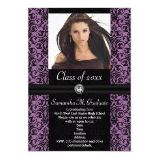 Elaborate Purple Black Damask Graduation Card