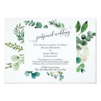 Elaborate Script Eucalyptus Postponed Wedding Card