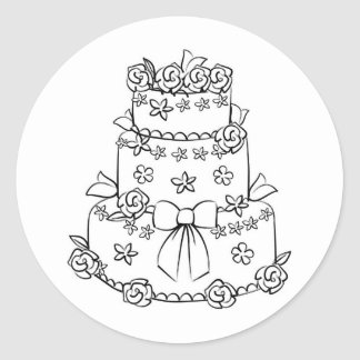 Elaborate Wedding Cake with Flowers and Bow Classic Round Sticker