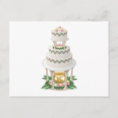 Elaborate Wedding Cake with Fountain Postcard by White Wedding