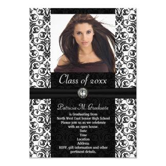Elaborate White|Black Damask Graduation Card