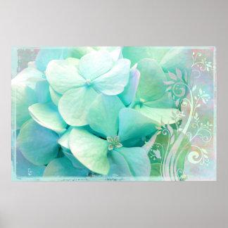 Elación, menta, Hydrangea de la aguamarina Poster