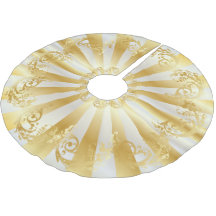 Elagant Gold and White Stain Christmas Brushed Polyester Tree Skirt