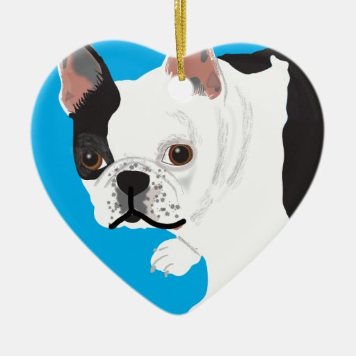 elaine scharnitzky's Boston Terrier Toby Double-Sided Heart Ceramic Christmas Ornament