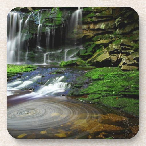 Elakala Waterfalls Swirling Pool Mossy Rocks Drink Coasters