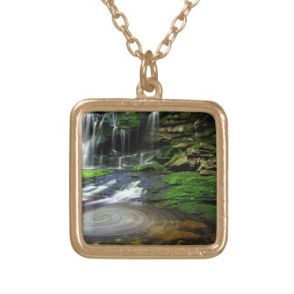 Elakala Waterfalls Swirling Pool Mossy Rocks Gold Plated Necklace