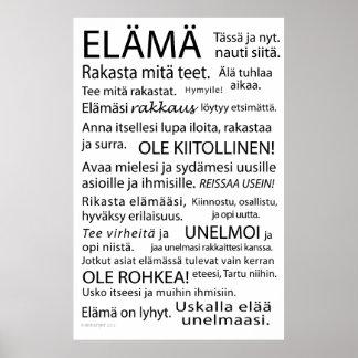 Elama juliste - Life poster in Finnish