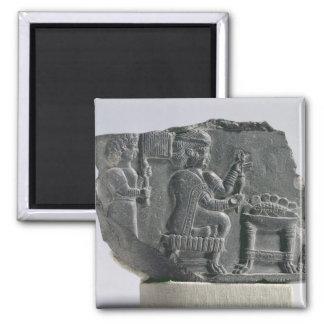 Elamite woman spinning, Neo-Elamite Period, c.700- 2 Inch Square Magnet