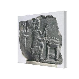 Elamite woman spinning, Neo-Elamite Period, c.700- Canvas Print
