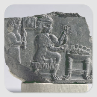 Elamite woman spinning, Neo-Elamite Period, c.700- Square Sticker