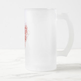 elastic love 16 oz frosted glass beer mug