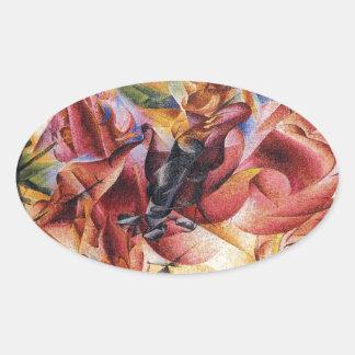 Elasticity by Umberto Boccioni Oval Sticker