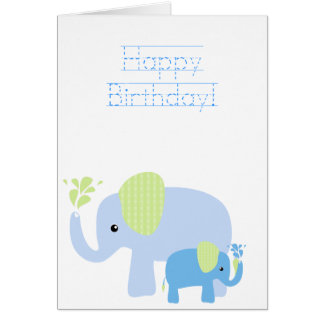 elated elephants birthday card w traceable font