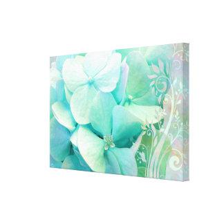 Elation canvas art, mint, Aqua Hydrangeas Canvas Prints