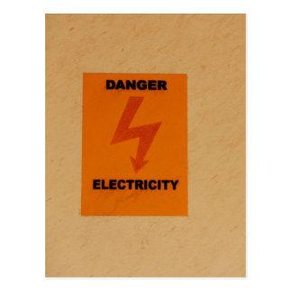 Elcetricity danger sign postcard