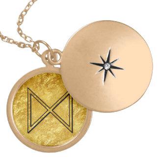 """Elder Futhark Neclace """"Dagaz"""" Round Locket Necklace"""