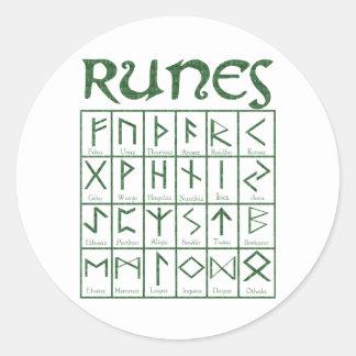 Elder Futhark Runes Classic Round Sticker