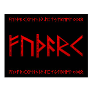 Elder Futhark Runes red Postcard
