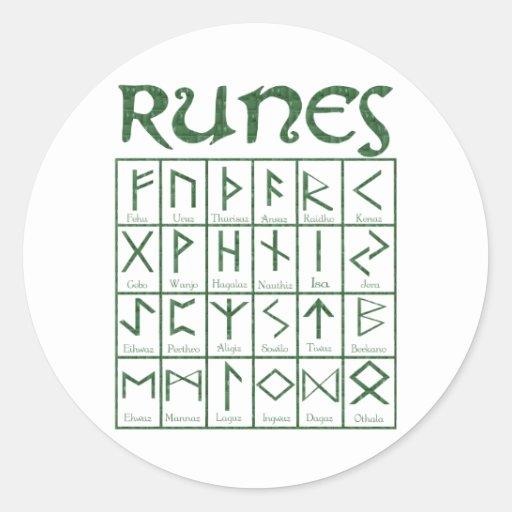 Elder Futhark Runes Round Stickers
