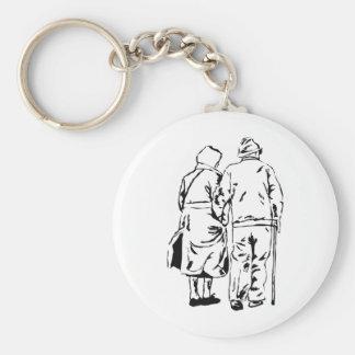 Elderly Couple Keychain