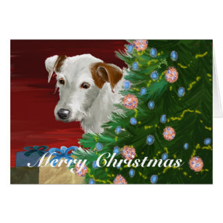 Elderly Jack Russell with Christmas Tree Card