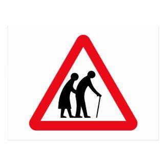 Elderly People (1), Traffic Sign, UK Postcard
