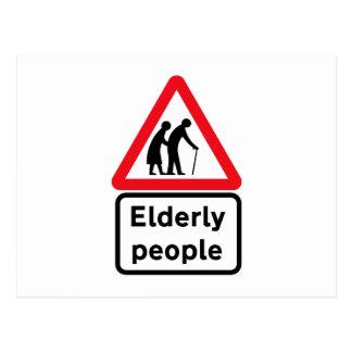 Elderly People (2), Traffic Sign, UK Postcard