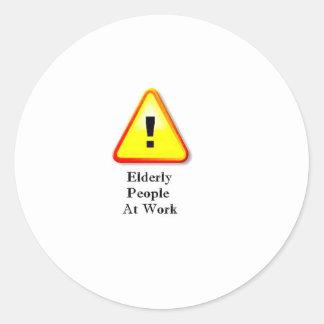 Elderly People At Work Classic Round Sticker