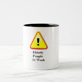 Elderly People At Work Two-Tone Coffee Mug