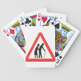 Elderly people road sign UK Bicycle Playing Cards