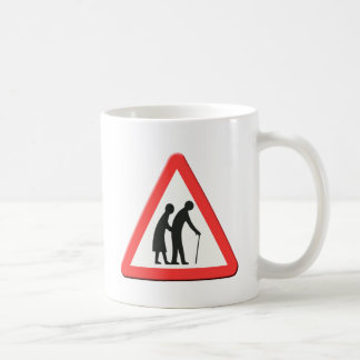 Elderly people road sign UK Mugs