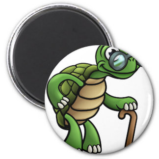 Elderly Tortoise Cartoon Character Magnet