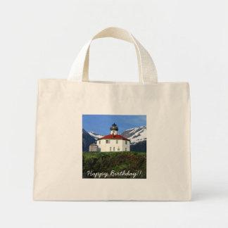 Eldred Rock Lighthouse; Happy Birthday Mini Tote Bag