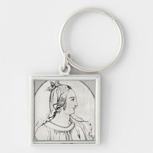 Eleanor de Aquitania Llavero Cuadrado Plateado
