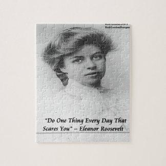 "Eleanor Roosevelt ""Do Something Scary"" Quote Jigsaw Puzzle"
